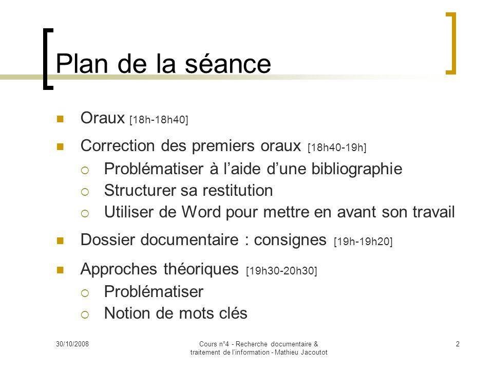 Plan de la séance Oraux [18h-18h40]